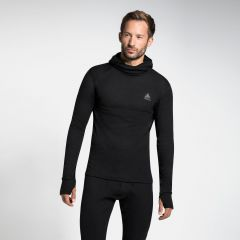 Men's Active Warm Long-sleeve Base Layer Top With Face Mask